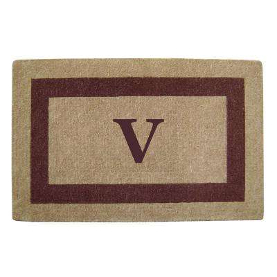 Single Picture Frame Brown 30 in. x 48 in. Heavy Duty Coir Monogrammed V Door Mat
