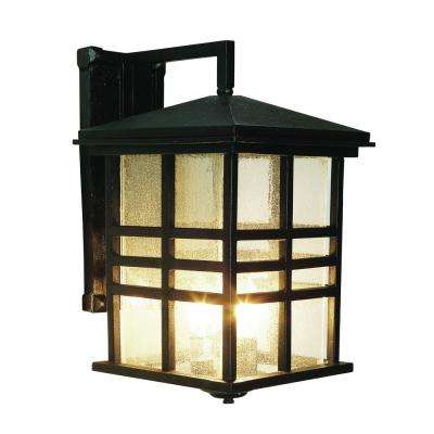 Craftsman 1-Light Black Outdoor Wall Mount Lantern with Seeded Glass