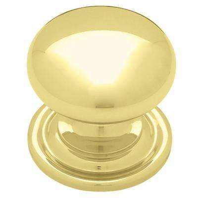 Traditional 1-3/8 in. (35mm) Polished Brass Round Cabinet Knob