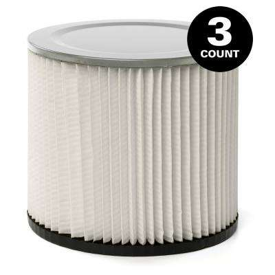 Standard Replacement Cartridge Filter for Most Shop-Vac Wet/Dry Vacuums (3-Pack)