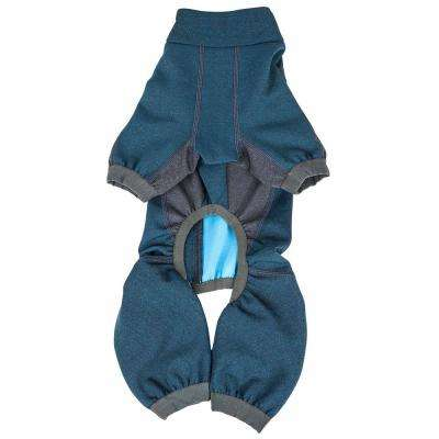 Large Blue Rufflex Breathable Full Bodied Performance Dog Warmup Track Suit