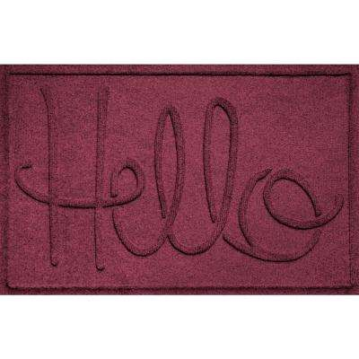Simple Hello Bordeaux 24 in. x 36 in. Polypropylene Door Mat
