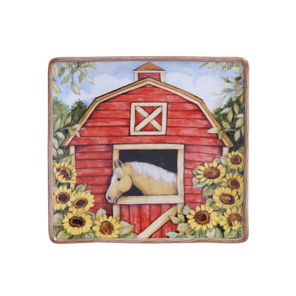 Heartland 12.5 in. Multi-Colored Ceramic Square Platter