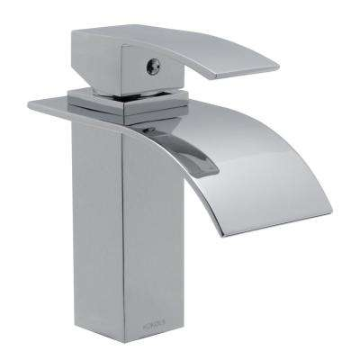 Jequn Single Hole 1-Handle Waterfall Bathroom Faucet in Chrome