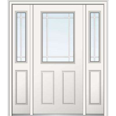 60 in. x 80 in. Internal Grilles Left-Hand 1/2-Lite Clear Primed Fiberglass Smooth Prehung Front Door with Sidelites