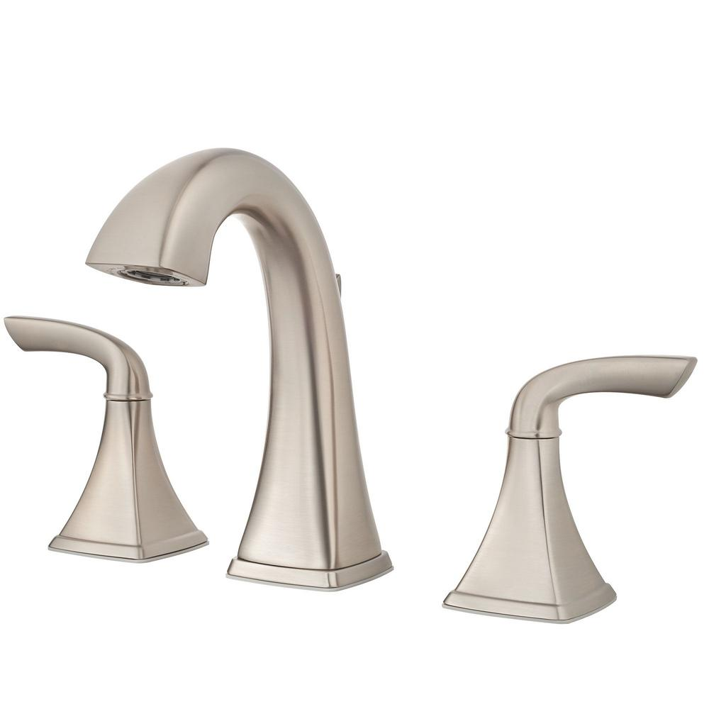 Pfister Bronson 8 In Widespread 2 Handle Bathroom Faucet In Brushed Nickel Lg49 Bs0k The Home