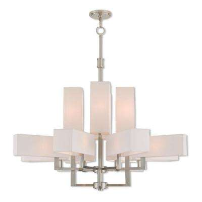 Rubix 12-Light Brushed Nickel Foyer Chandelier with Off-White Fabric Outside and White Fabric Inside Hardback Shade