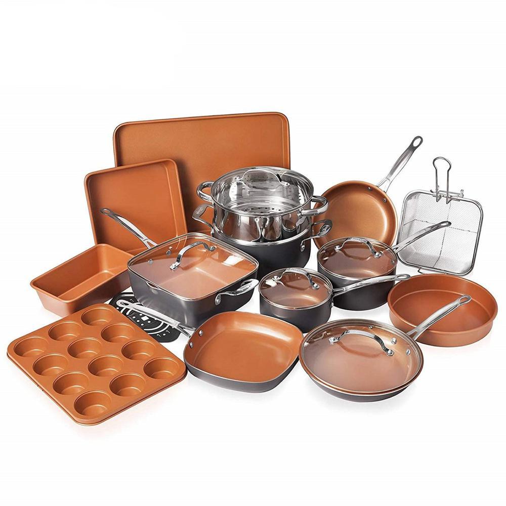20-Piece Aluminum Ti-Ceramic Nonstick Cookware and Bakeware Set in Graphite