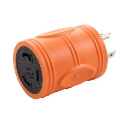 Locking Adapter NEMA L5-20P 20 Amp 125-Volt 3-prong locking plug to L5-30R 3-Prong 30 Amp Locking Female Connector