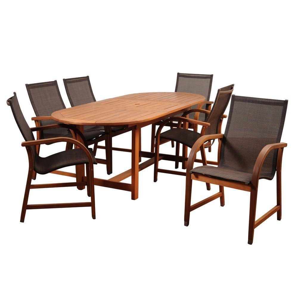 Bahamas 7-Piece Eucalyptus Extendable Rectangular Patio Dining Set with Brown Sling Seat