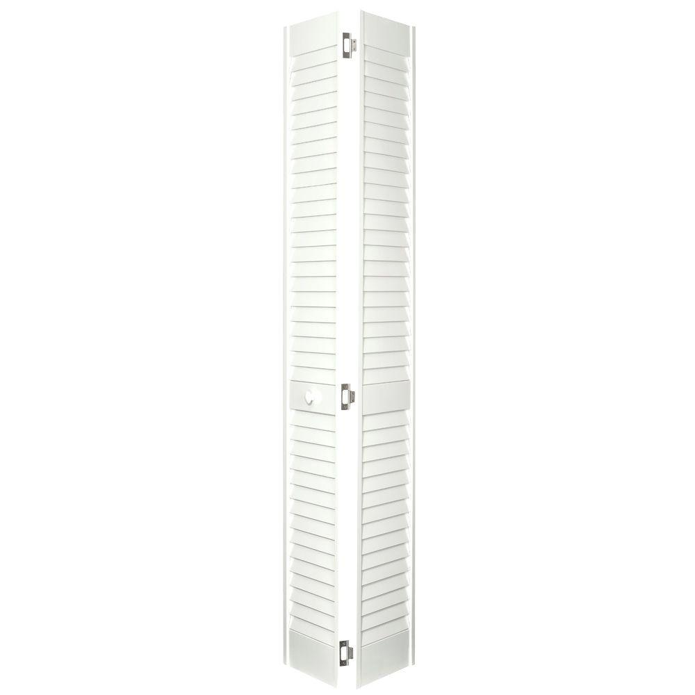 Home Fashion Technologies 24 in. x 80 in. 2 in. Louver/Louver Behr Swiss Coffee Solid Wood Interior Closet Bi-fold Door