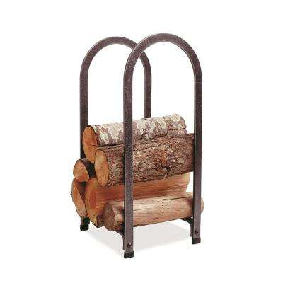 Vertical Arch Log Rack with Hammered Steel Finish
