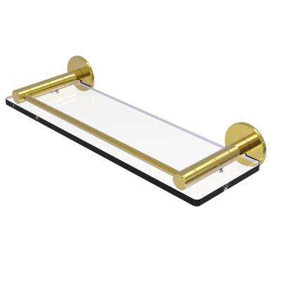 Fresno Collection 16 in. Glass Shelf with Vanity Rail in Unlacquered Brass