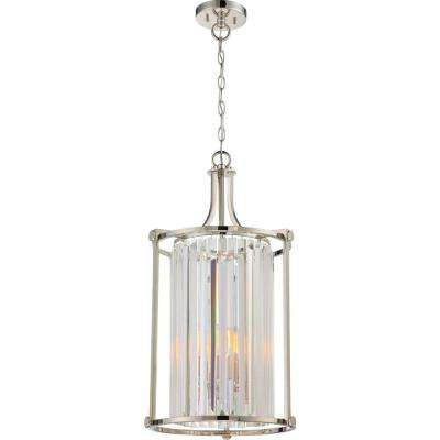 4-Light Polished Nickel Chandelier with Frosted Ribbed Glass Shade