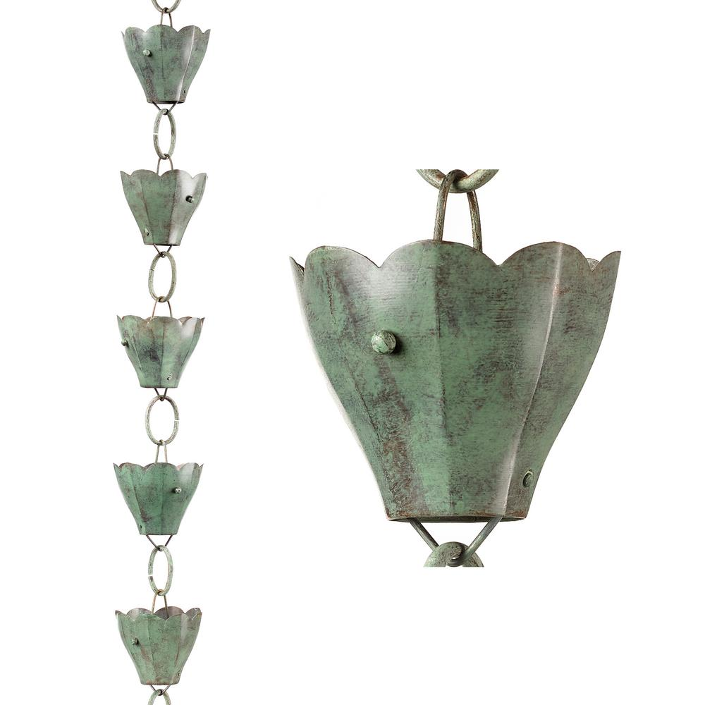 13 Cup Tulip Pure Blue Verde Copper 8.5 ft. Rain Chain