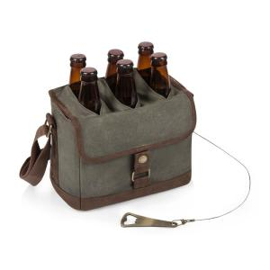 Beer Caddy Khaki Green and Brown Cooler Tote with Opener