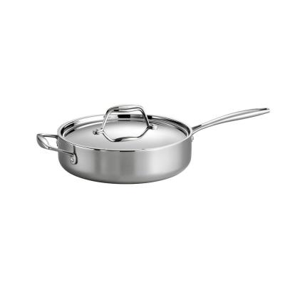 Gourmet Tri-Ply Clad 3 qt. Stainless Steel Saute Pan with Lid
