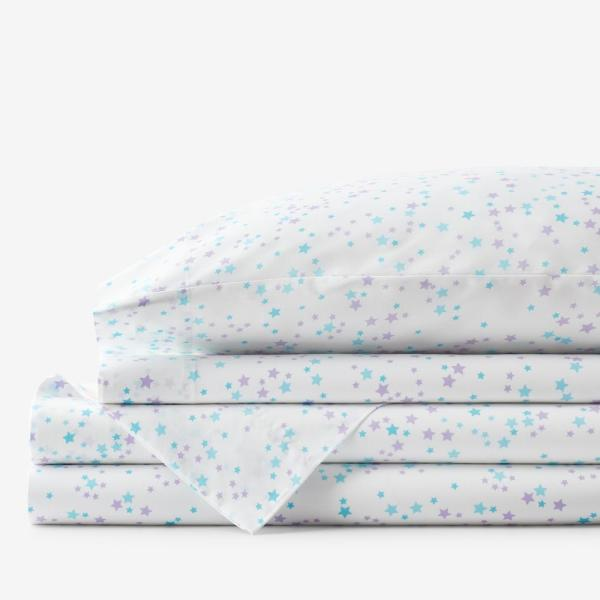 The Company Store Company Kids Starlight 4 Piece Turquoise Geometric 200 Thread Count Organic Cotton Percale Queen Sheet Set 30351l Q Turquoise The Home Depot