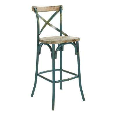Somerset 30 in. with Back in Antique Tourquoise Bar Stool