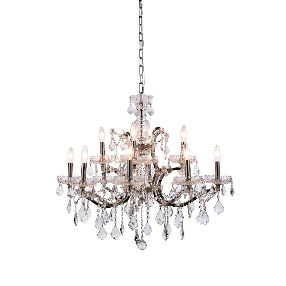 Elegant Lighting Elena 12-Light Polished Nickel Royal Cut Crystal Clear Pendant