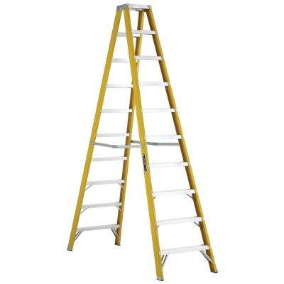 10 ft. Fiberglass Twin Step Ladder with 250 lbs. Load Capacity Type I Duty Rating