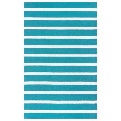 Azzura Hill Teal Striped 2 ft. x 3 ft. Indoor/Outdoor Accent Rug