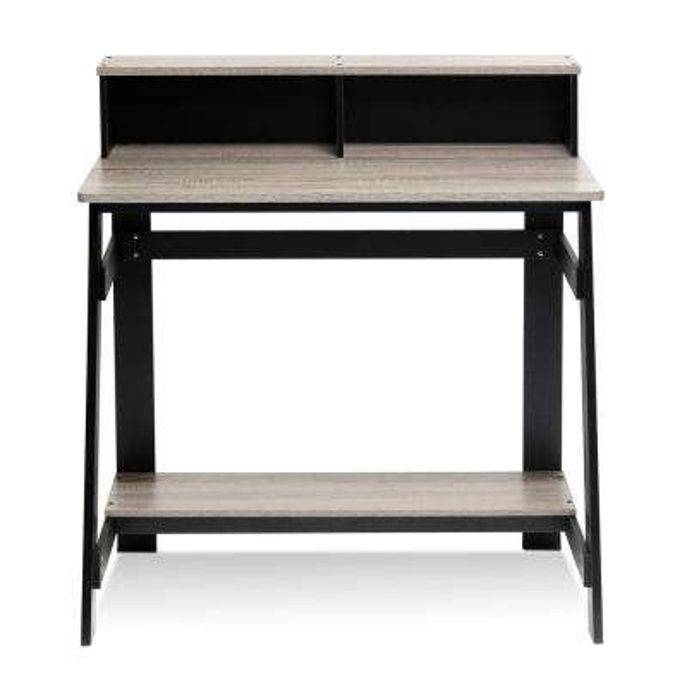 Simplistic Black/French Oak Grey Computer Desk with A Frame
