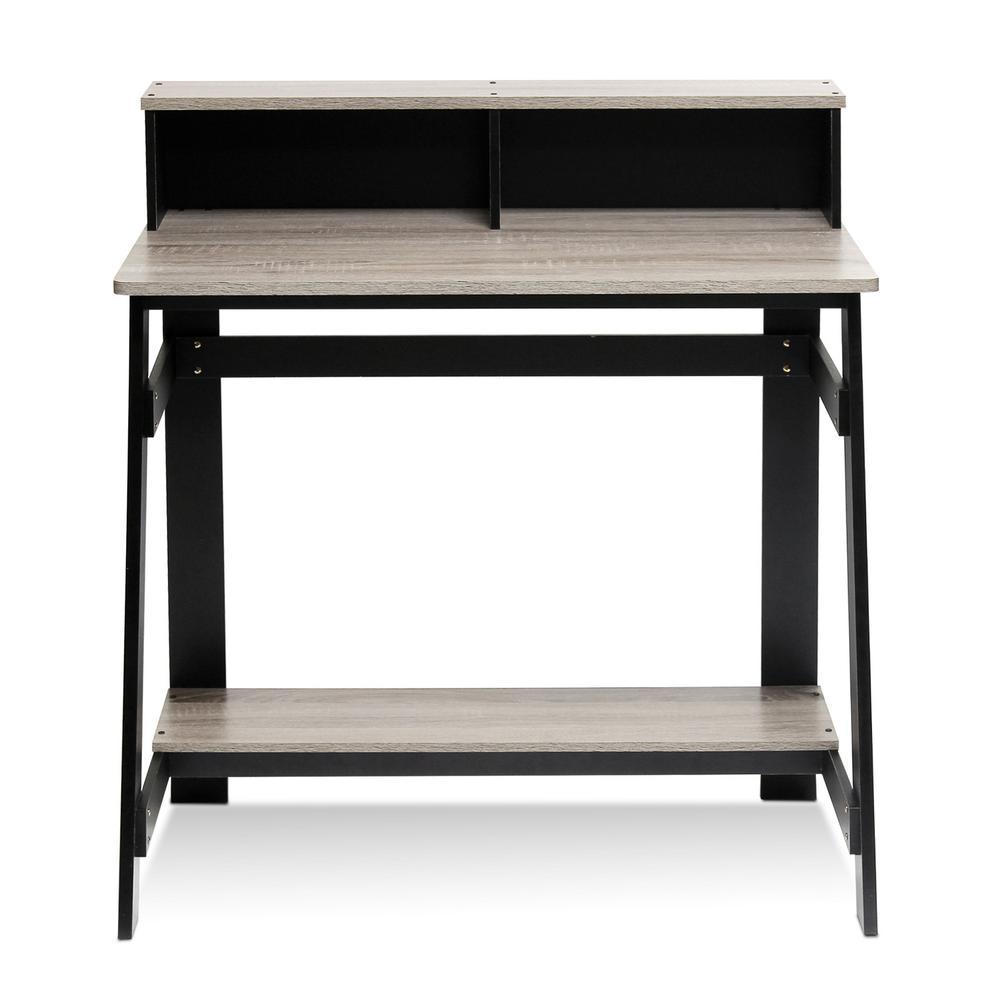 Furinno Simplistic Black/French Oak Grey Computer Desk with A Frame 14054BK/GYW