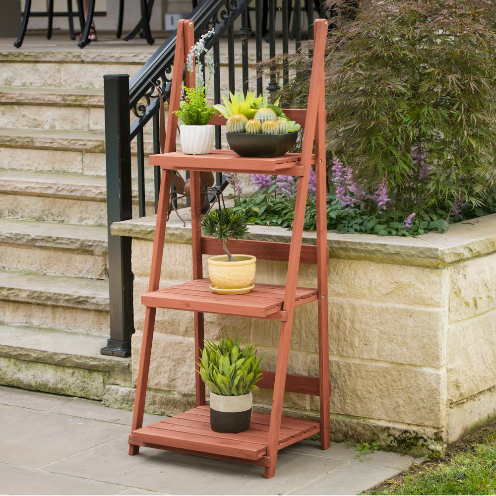 Leisure Season 24 in. x 18 in. x 60 in. 3-Tier A-Frame Plant Stand