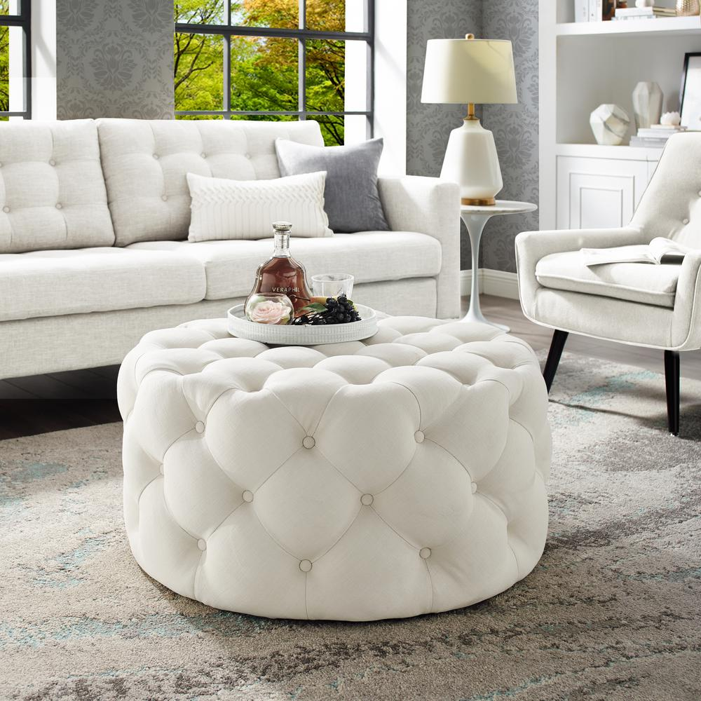 Inspired Home Drita Cocktail Table Ottoman Cream White Linen Tufted Allover Round Caster Leg On95 03cw Hd The Home Depot