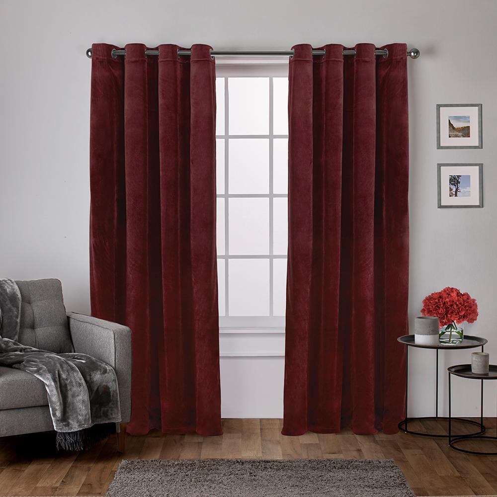 Velvet 54 in. W x 96 in. L Velvet Grommet Top Curtain Panel in Burgundy (2 Panels)