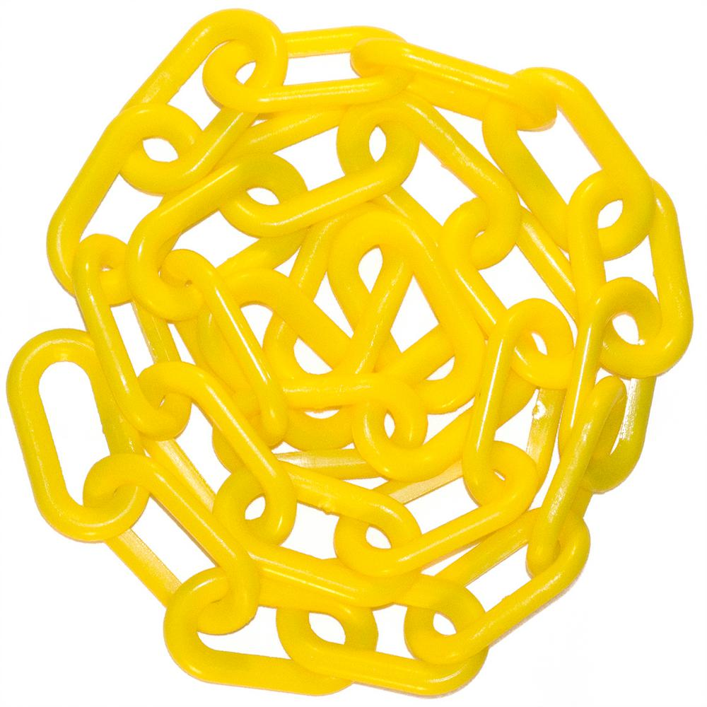 Mr. Chain 2 in. x 100 ft. Yellow Plastic Chain 2 in. Yellow plastic chain is ideal for creating visual barriers. Lightweight, strong and durable, it can provide years of service. From Mr. Chain, the original manufacturer of plastic chain.