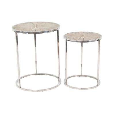White Round Nesting Tables with Gray Frames (Set of 2)