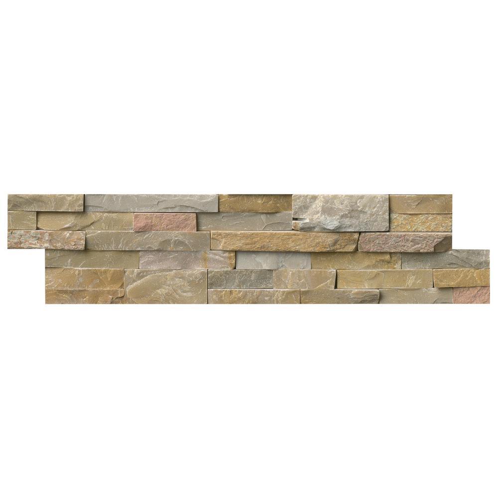 Golden Honey Ledger Panel 6 in. x 24 in. Natural Quartzite Wall Tile (5 cases / 30 sq. ft. / pallet)