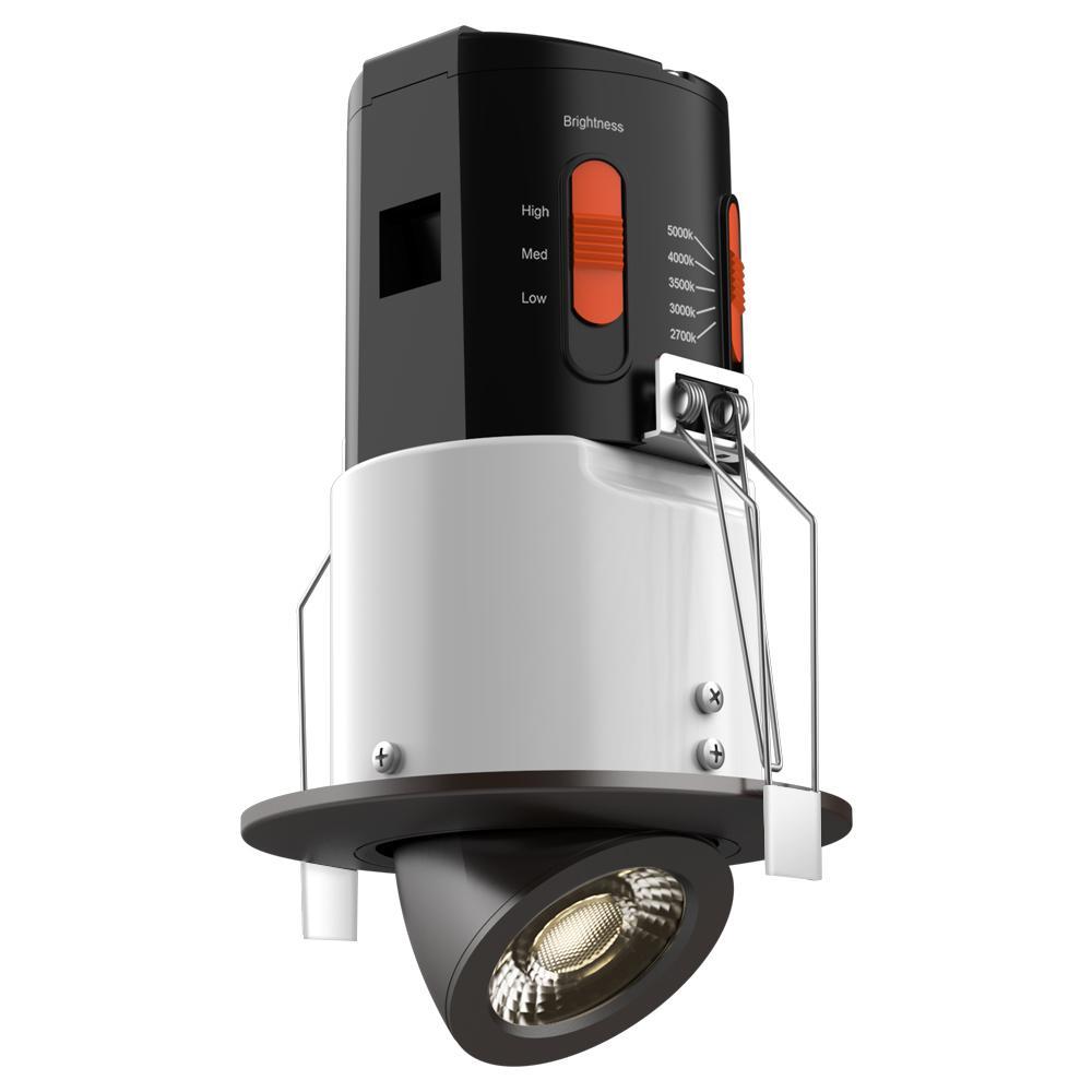 Premium Downlight 3 in. Dark Bronze Integrated LED Recessed Gimbal Kit
