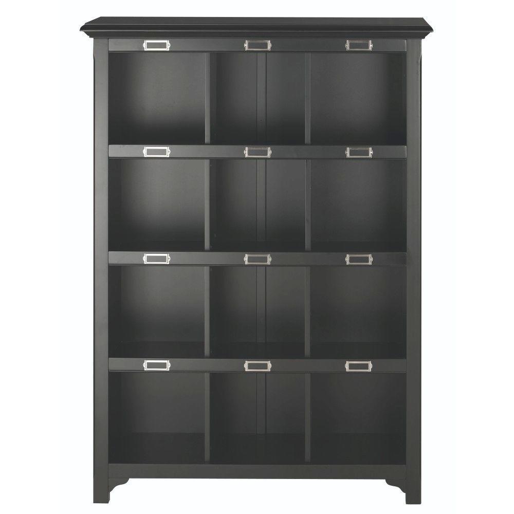 Home Decorators Collection William 41.25 in. W x 58.75 in. H Black 12-Cube Organizer