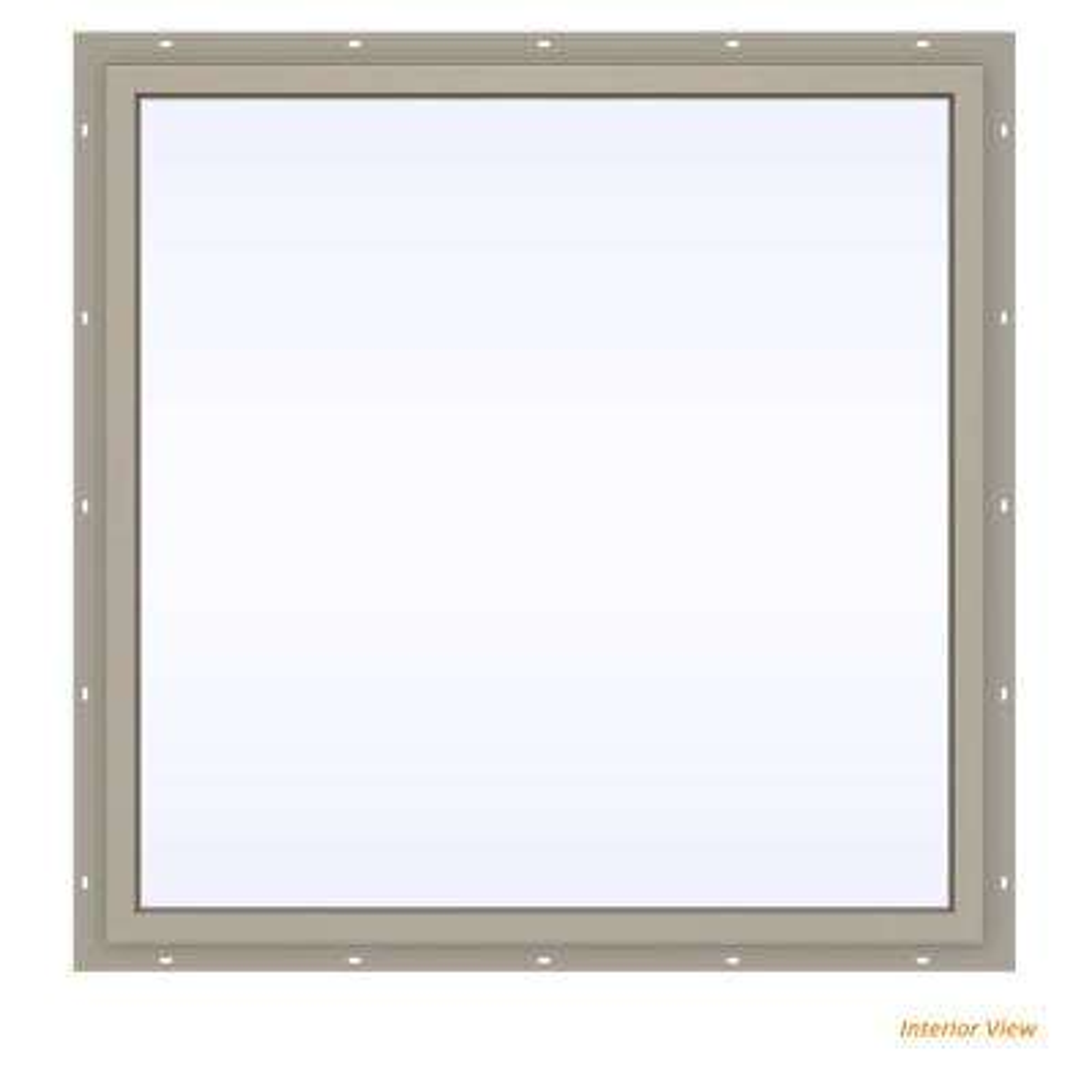 47.5 in. x 47.5 in. V-4500 Series Desert Sand Vinyl Picture Window w/ Low-E 366 Glass