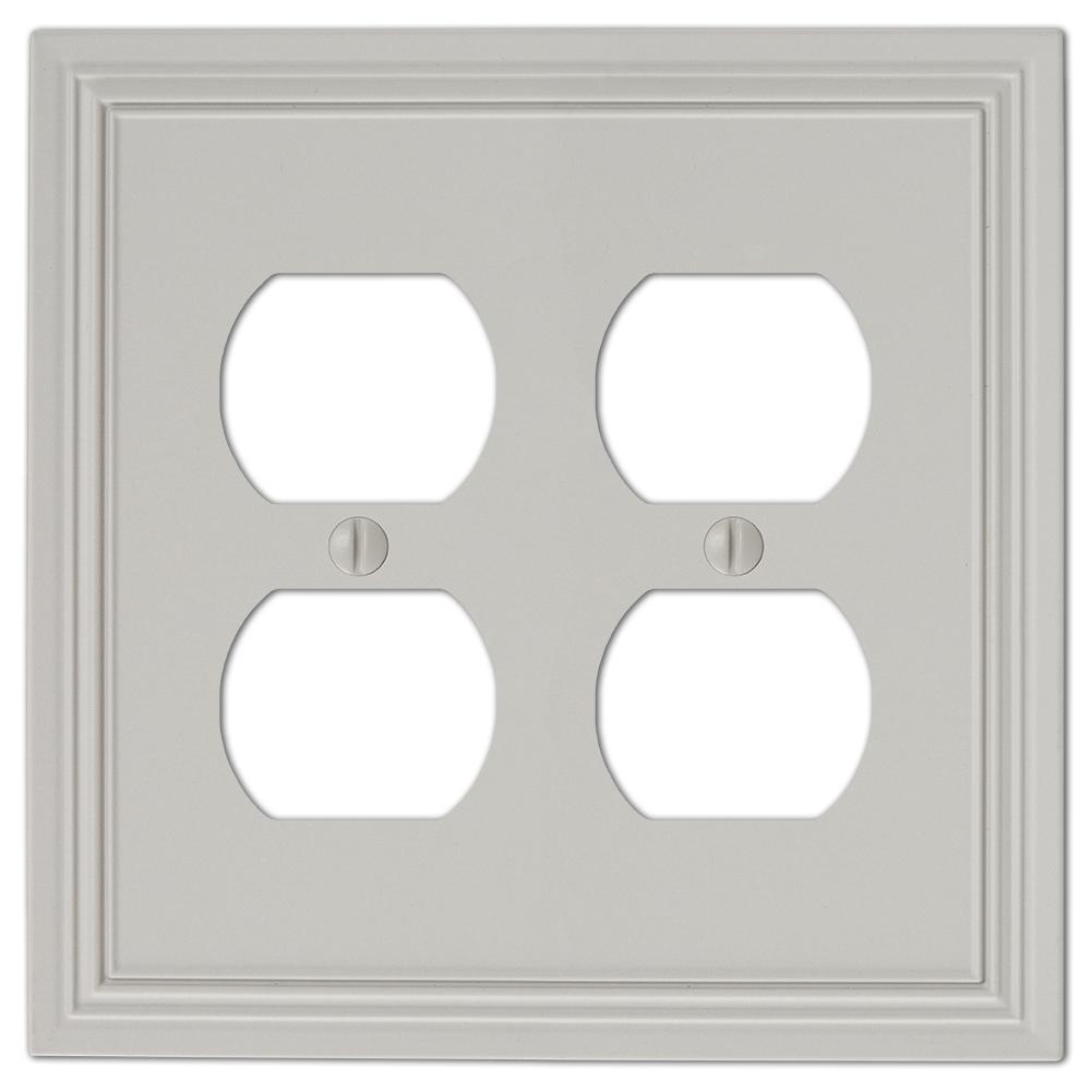 Hallcrest 2 Gang Duplex Metal Wall Plate - Gray