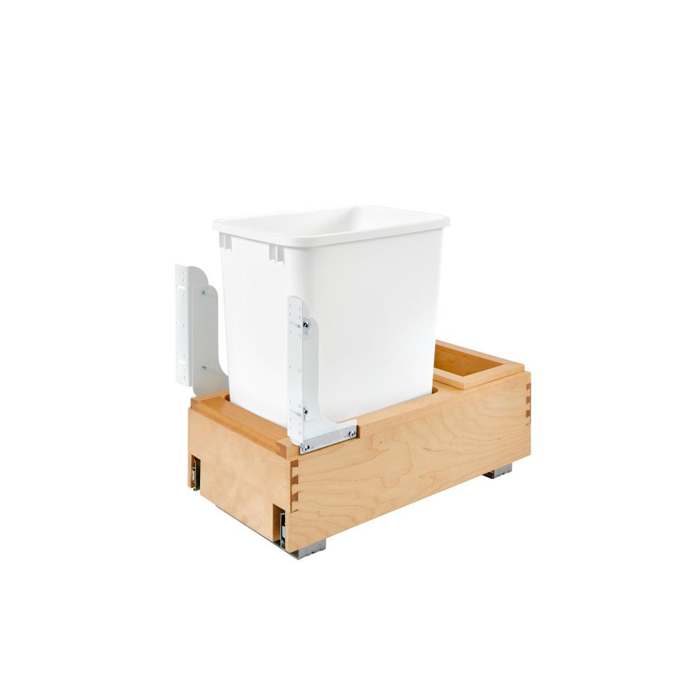 Rev-A-Shelf 19.25 in. H x 11.625 in. W x 21.875 in. D Single 35 Qt. Pull-Out Bottom Mount Wood and White Waste Container