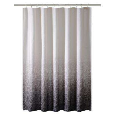 Ombre 70 in. x 72 in. Printed Polyester Black Shower Curtain