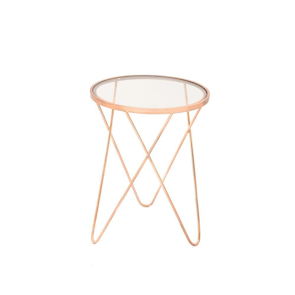 Litton Lane Copper Iron Accent Table With Round Clear Gl Top