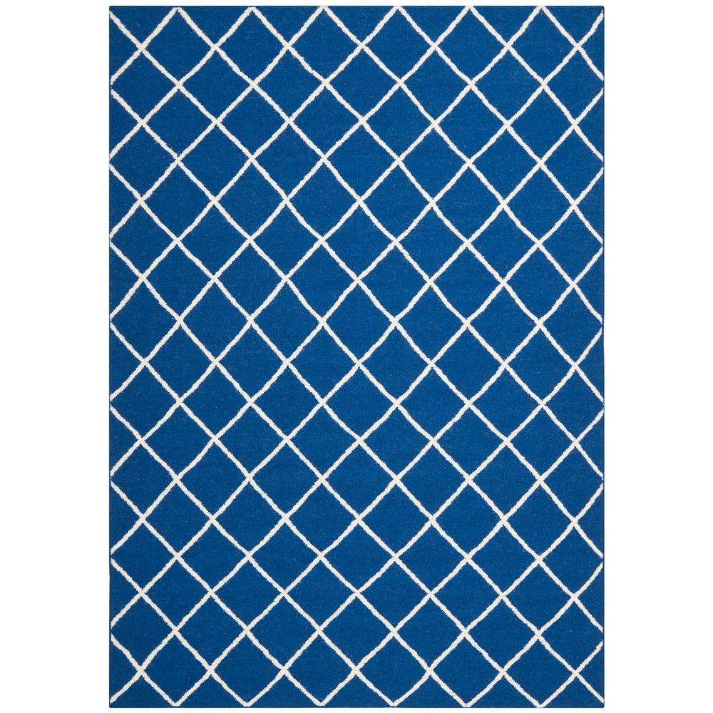Dhurries Dark Blue 8 ft. x 10 ft. Area Rug