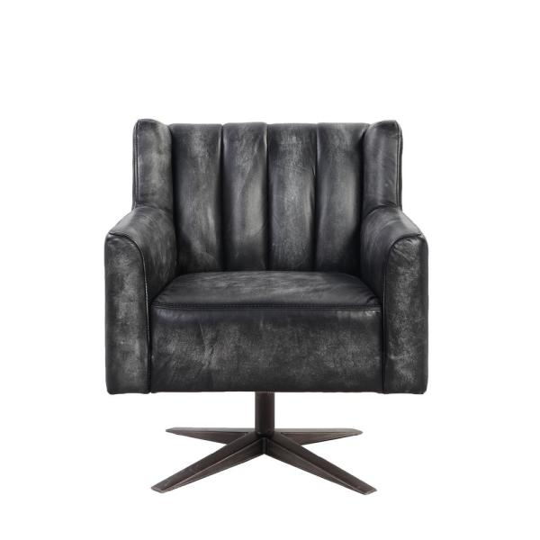 Acme Furniture Brancaster Vintage Black Top Grain Leather Executive Office Chair 92554 The Home Depot