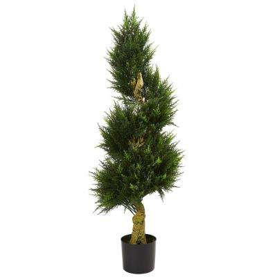 4.5 ft. UV Resistant Indoor/Outdoor Spiral Cypress Artificial Tree