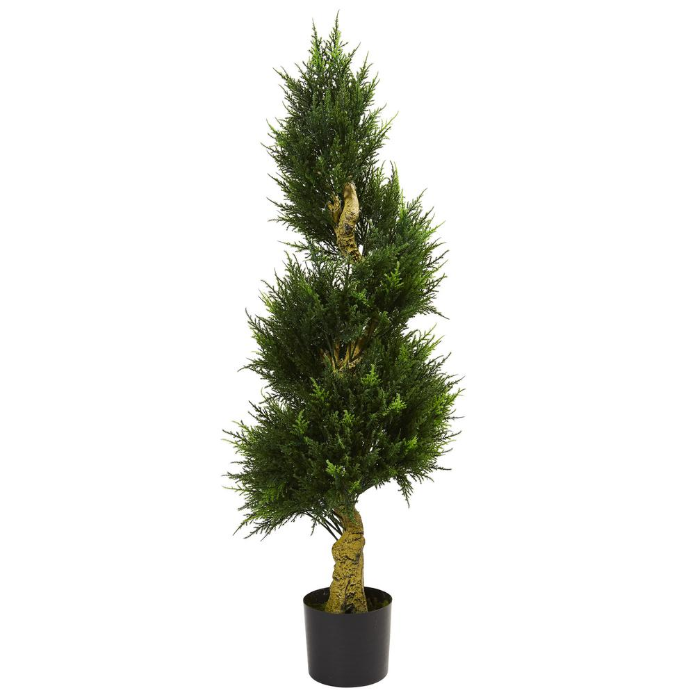 nearly natural 4 5 ft uv resistant indoor outdoor spiral cypress artificial tree 5525 the. Black Bedroom Furniture Sets. Home Design Ideas