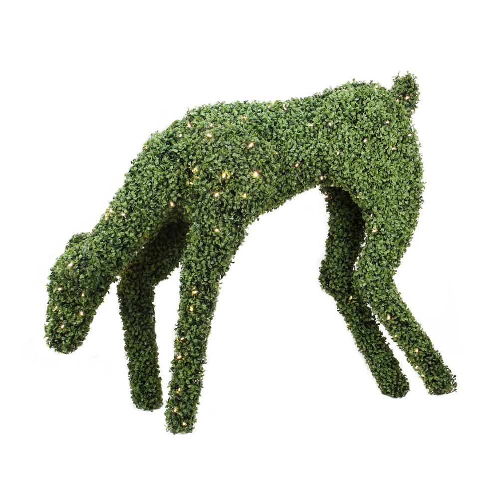 42 in. Christmas Pre-Lit Boxwood Feeding Reindeer Outdoor Decoration with Warm