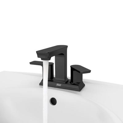 Forsey 4 in. Centerset 2-Handle Bathroom Faucet with Easy Install Push Drain in Matte Black
