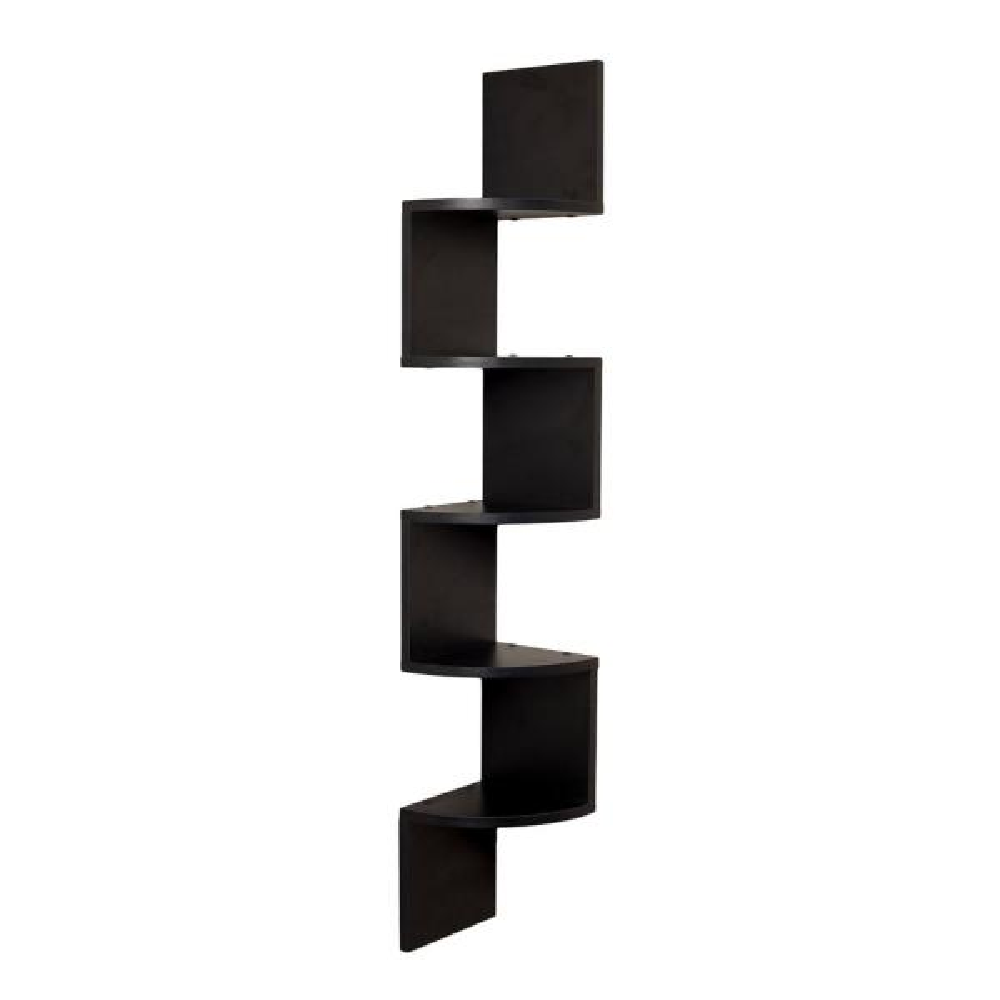 DANYA B Zig Zag 7.75 in W x 7.75 in. D Floating Laminate Corner Wall Decorative Shelf in Black Finish