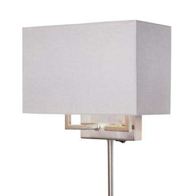 2-Light Brushed Nickel Dual Mount Wall Sconce with Fabric Shade