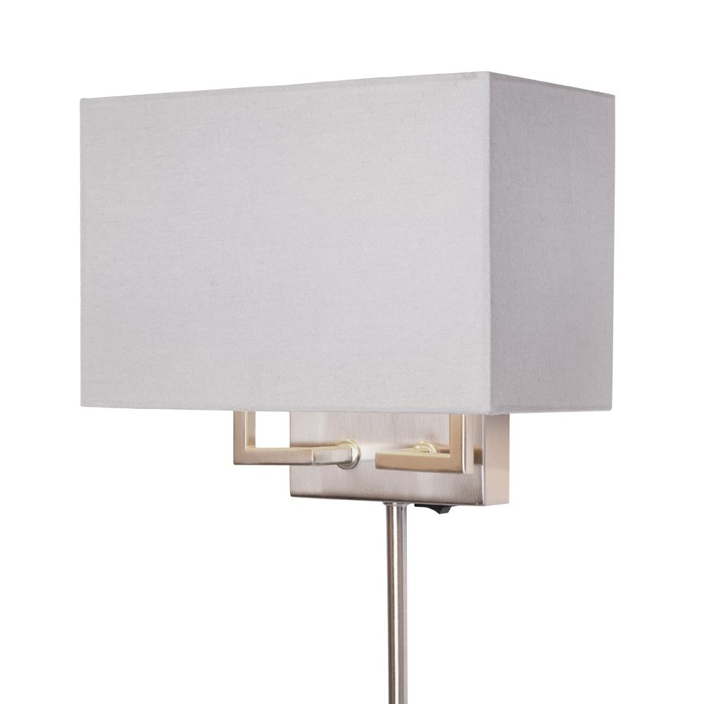 Hampton Bay 2 Light Brushed Nickel Dual Mount Wall Sconce With Fabric Shade